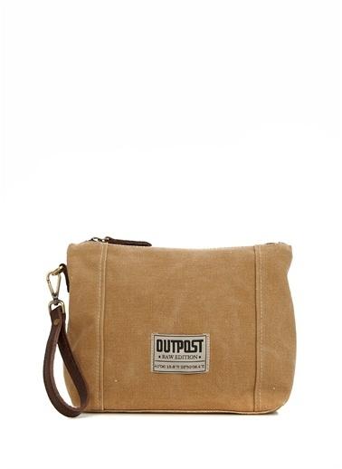 Outpost Outpost Kısa El Askılı Fermuar Kapatmalı Logolu Hardal Kadın Makyaj Çantası Hardal